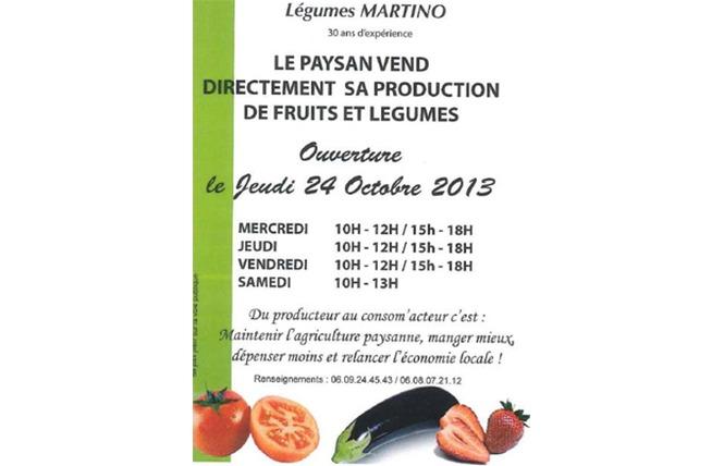Vente à la ferme Légumes MARTINO 2 - Salon-de-Provence